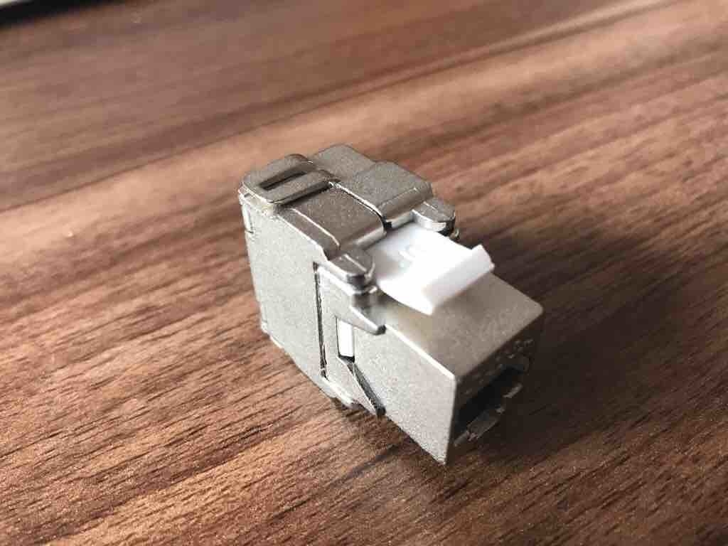 FTP Cat6 Punch Down Keystone Jack RJ45 180 Degree Metallic Color OEM / ODM