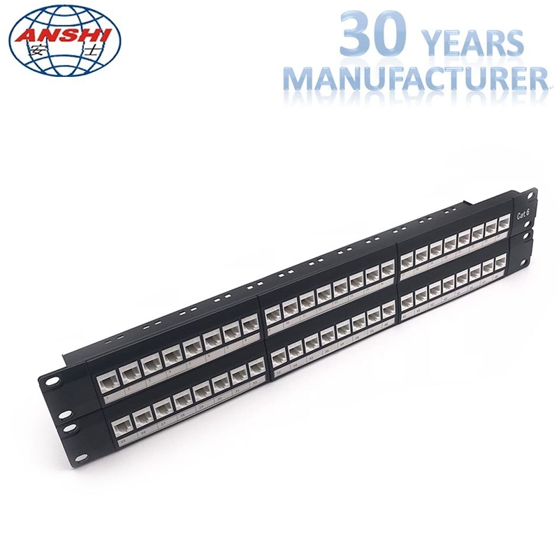 Network Unshielded Patch Panel Loaded With Keystone Jack 48 Ports 2u Cat6 UTP