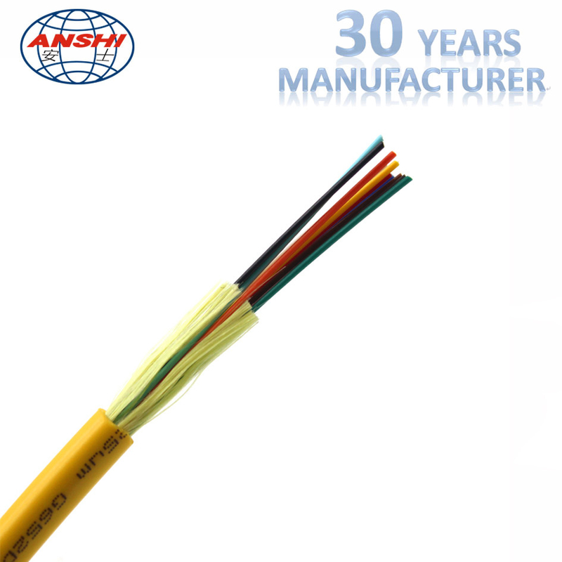 Indoor Distribution Fiber Optic Accessories GJFJV Fiber Optic Cable LSZH Yellow Sheath